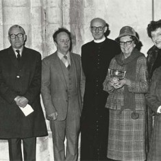 Farewell to Rev Rodney Smith, 1981. L to R, Sir William Douglas Home, Sir Lynton White, Dick Berry, Rev Smith, Mr Smith, from Langrish - Rosemary Ripper, Gladys Deadman