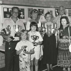Flower Show winners, L to R, back row, Keith Kitcher, Susan Hull, Molly Dicker, Adrian Pelly, front row, Lisa Kittcher, Claire Wilkinson, Bun Roper.