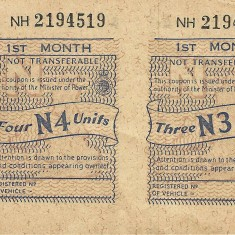 Two motor fuel coupons