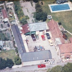 Aerial photograph of garage.
