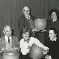 Garden Club urns 1992, Back row, Peter Street, Jackie Wilson, front row Adrian Pelly, Susan Hull, Monique Aldridge