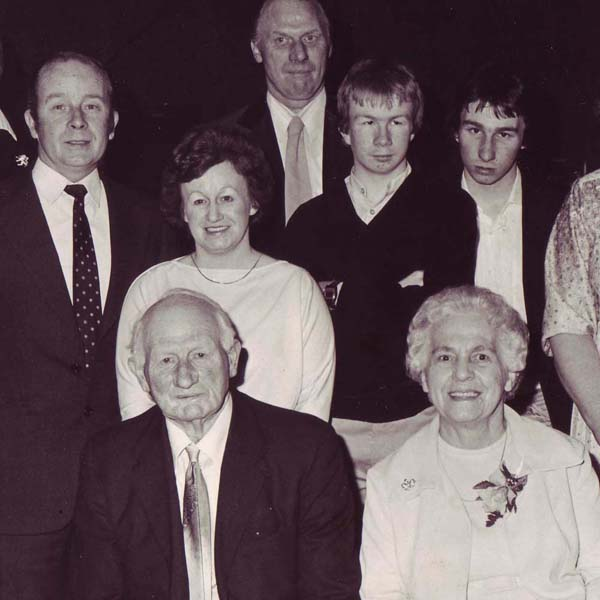 Three generations. Herbie and Nellie at the front, next row Chris Pamplin, Hazel, their sons Simon and Mark, back row, David Goddard.
