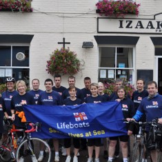 Lifeboats cycle ride 2010.  Simon Tillbrook, Clive Tillbrook, Wendy Blease, Jane Weber, Jenny Ertle, Gary Flynn, John McNaughton, Elizabeth McNaughton, Richard Gaisford, Georgina Edwards, Nick Mayhew-Sanders and Mark Rowland were riding to raise money for the RNLI, while Adam Horrocks, Sarah Horrocks, Wayne Harfield, Derek Harfield, and Amy Blackman