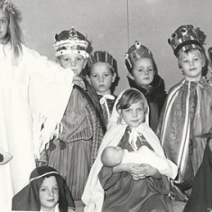 Nativity Play. L to R. Lockyer, Matthew Cooper, ?, Andrew Blackman, Steven Stidolph, North Twin, Becky Powney, front- ?, North twin, Teresa Bleach, Damian Muggeridge