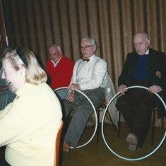 Old folk with hoops and piano accompaniment