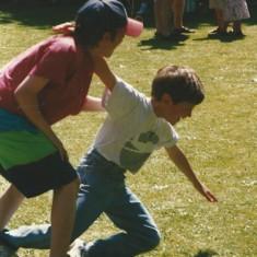Pair falls in three-legged race