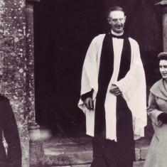 Princess Margaret leaves the church in 1984, accompanied by Rev Smith