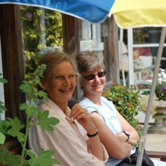Rosemary Ryder and Prue Scurfield at Bottle Cottage