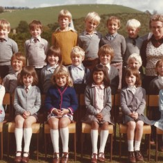Schoolchildren. Back row, second from left, Ian Whitear. On right, Miss Mackiness. Middle row, second from left, Justin Whitear. Middle front, Deborah Neale, next to her, Amanda Cobb.