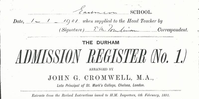 School Register, 1901 - 1912