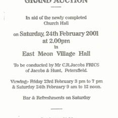 Flyer for Auction to raise funds for Church Hall, February 2001