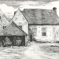 Court Farm etched by Robert Brydon in 1905, before Morley Horder bought The Court House and restored the Hall to its mediaeval splendour