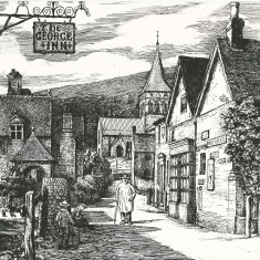 Robert Brydon's etching of Church Street, including the Post Office, All Saints Church and  The George Inn . 1905 | Robert Bryden