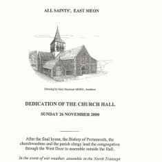Flyer promoting dedication of Church Hall in November 2000