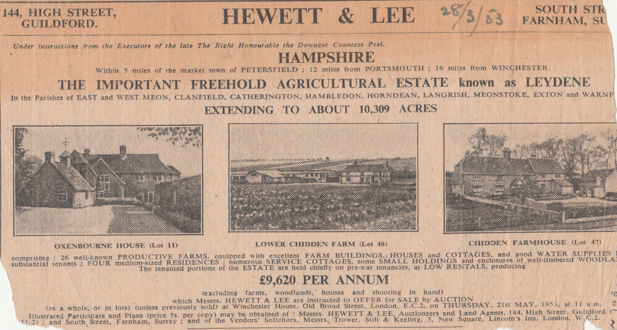 Notice of sale of the estate on March 28th 1953.