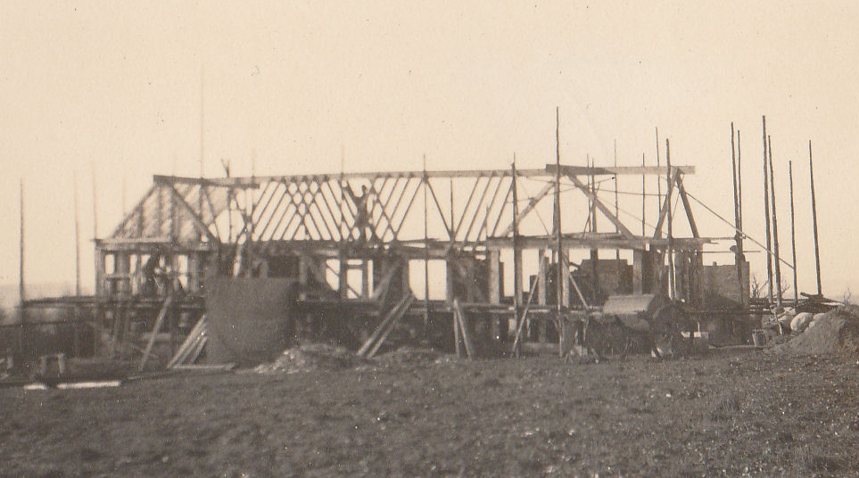 Building the Gardener's Cottage, March 1922.