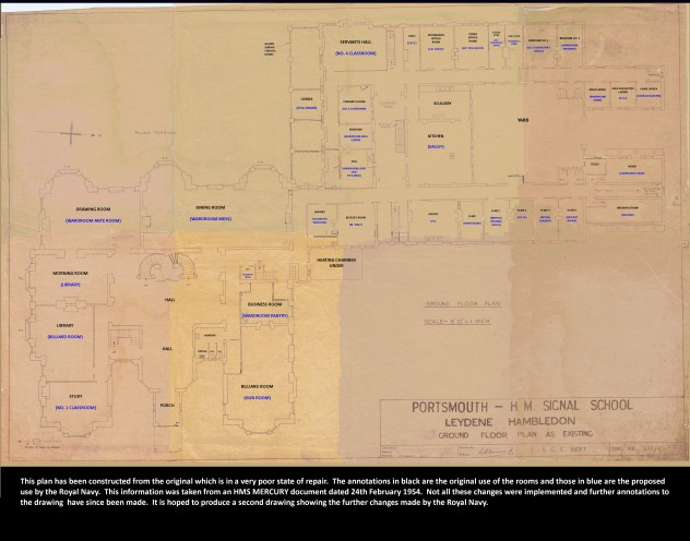 Plans, c 1953, for conversion of Leydene house into Royal Navy Wardroom and Mess.