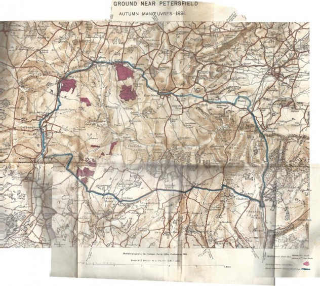 Map used for Autumn Manoeuvres in 1891, showing the area within which the two Divisions conducted their operations.