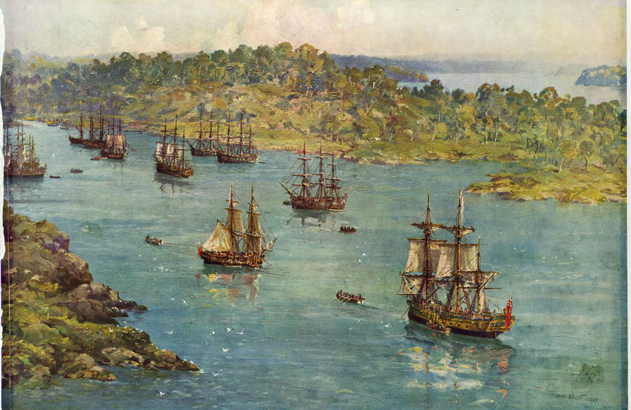 The First Fleet of convicts and soldiers arrives in Botany Bay, 1787