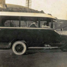The second bus, with passengers. Since grandfather Albert did not drive, his two sons Arthurand Albert drove the busses, from a young age.
