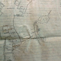 Map showing Oxenbourne, Fishponds, West Lane, allottees include William White, executors of James Weeks, William Weeks,  T.B.Rowse, George Hellyer, Sir R.D.jackson, John Christmas