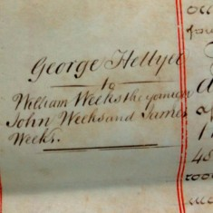 Margin note - Hellyer to William john and James weeks.