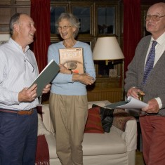 Chris Brough, left, with Rosemary and Denys Ryder