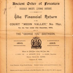 Financial Return, 1893, of the Court 'Meon Valley' of the Ancient Order of Foresters Friendly Society