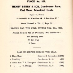 Flock record 1922 of Henry Berry, Oxenbourne Farm