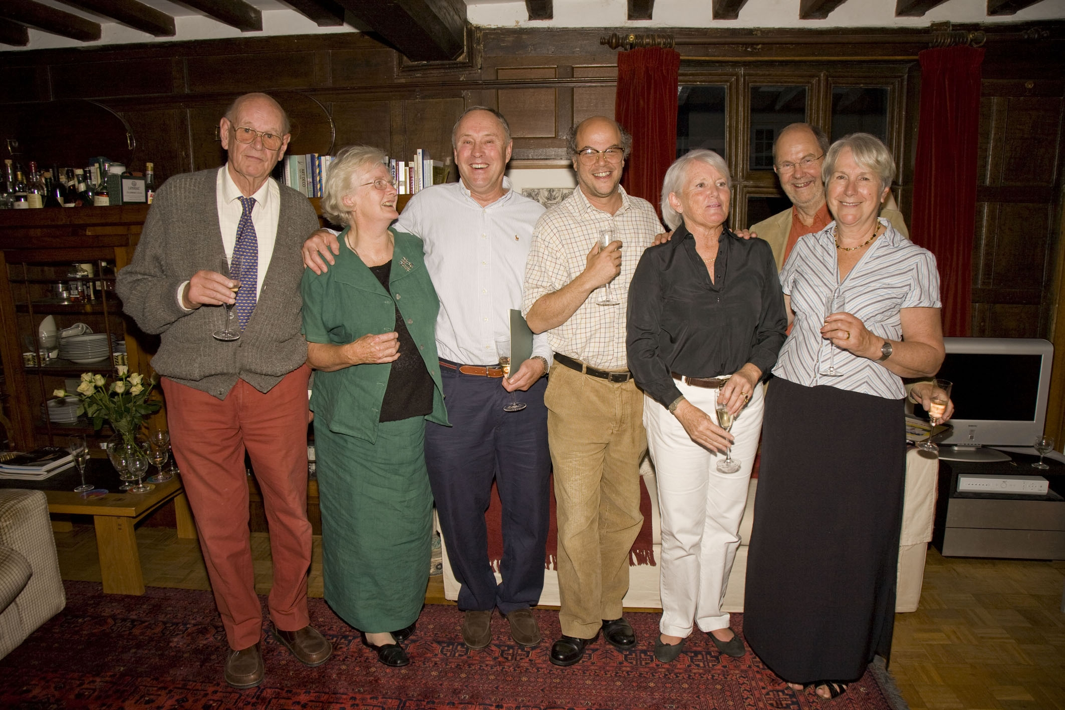 Editors of Meon Matters 1982 - 2005. L to R, Denys Ryder, Joan Rendle (widow of John), Chris Brough, Marc Atkinson, Sally-Anne Brough, Michael & Tricia Blakstad
