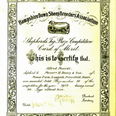 Certificate awarded by the Hampshire Down SheepBreeders Association to Shepherd Alfred Merritt, Shepherd to Henry Berry & Son. 1923.