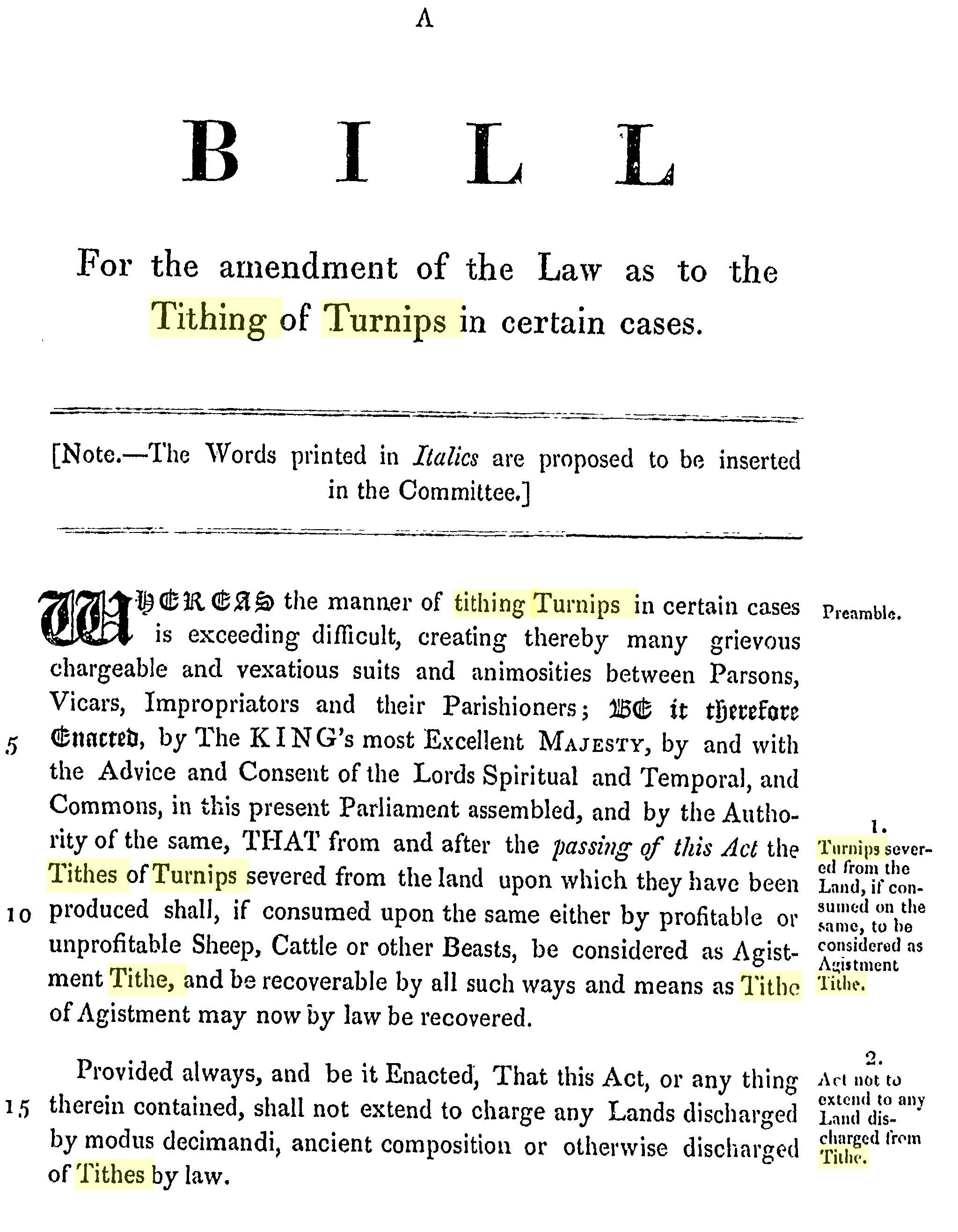 Act passed in 1835 to reject the Tithing of Turnips by the Vicar of East Meon, Rev Thomas Cooke Kemp.