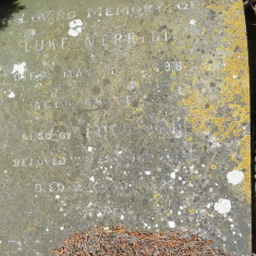 Gravestone in All Saints church yard, where Luke Merritt and his son Luke are both buried. | David Hopkins