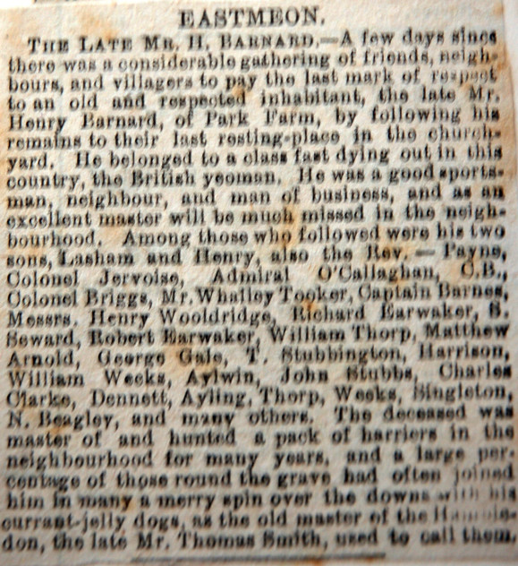 Obituary of Mr H Barnard, whose funeral was attended by 'Aylwin', christian name not supplied