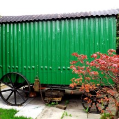 Side view of Shepherds Hut which Jim Cook is restoring