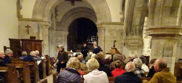 The History Group taking their seats in All Saints Church before the talk given by Michael Blakstad in October 2017