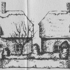 Paupers (left) and Kews Cottages from 1985 guide to walk around East Meon, by Tricia Blakstad