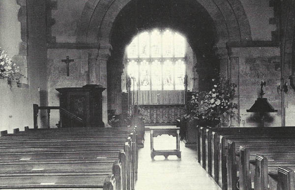 Black and white image of the nave, showing the East window. Date unknown.