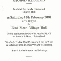 Flyer for auction to raise funds for Church Hall Feb 2001