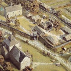 Detail of the  model of East Meon in Domesday times, showing the curia, or farm headquarters, of The Court House as well as the Saxon hall which preceded the 14th century structure we see today. | Musee de la Tapisserie, Bayeux