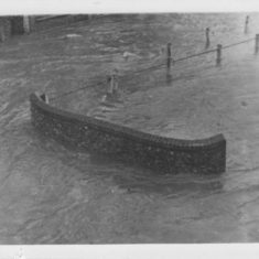 Bridge flooded outside New Inn. Collection of '50s photos at Ye Olde George.