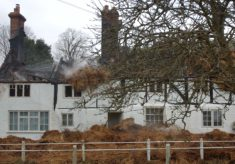 Brook Cottage after fire, from front