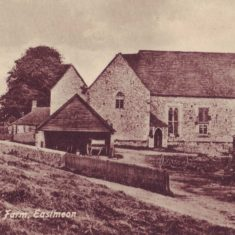 1900s post card of the Hall at The Court House, used as farm buildings.