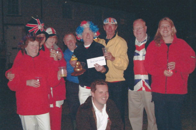 Golden Jubliee celebrations June 2002. far right, standing, and crouching, Jo and Clive Tilbrook, organisers.