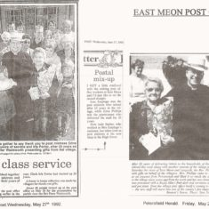 News clippings marking retirement of postwoman Edna Phillips and sub-post mistress Iris Porter