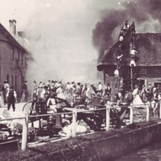 It took an hour for the 'engineers' of Petersfield fire brigade to arrive, and villagers formed a human chain to feed water from the river to the blaze, with ladders on the roof of Potter's General Warehouse.
