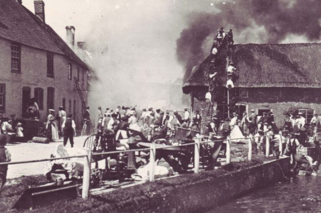 It took an hour for the 'engineers' of Petersfield fire brigade to arrive, and villagers formed a human chain to feed water from the river to the blaze, with ladders onthe roof of Potter's General Warehouse.
