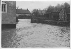 Flooding over Meadow and Cottages