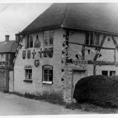 Forge Sound with bunting, Coronation 1953. Hockley Cottage had now disappeared, and the timbers of Foge Sound exposed.