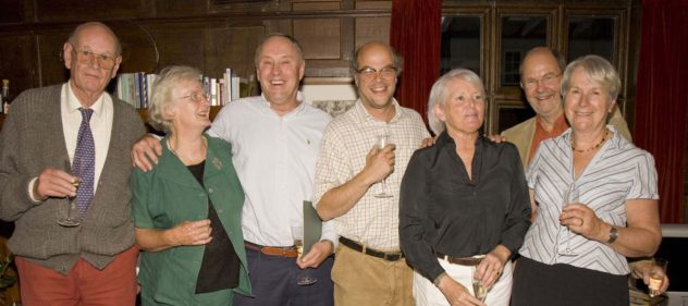 Celebration of Meon Matters, 1982 - 2005. Denys Ryder, Hazel Rendle, Chris Brough (founder), Marc Atkinson, Sally-Anne Brough, Michael and Tricia Blakstad